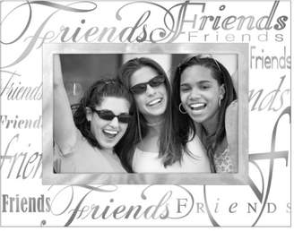 Malden International Designs Mirrored Glass With Silver Metal Inner Border Friends Picture Frame