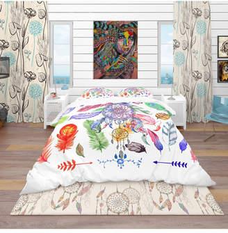 Design Art Designart 'Indian Dream Catcher' Southwestern Duvet Cover Set - Twin Bedding