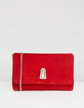 Dune Baloo Red Suede Clutch Bag With Twist Lock Opening And Detachable Strap