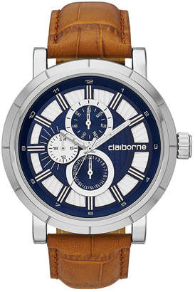 Claiborne Mens Brown and Silver-Tone Croc-Pattern Leather Strap Watch