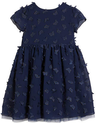 Charabia 3D Butterfly Short-Sleeve Dress, Size 10-12