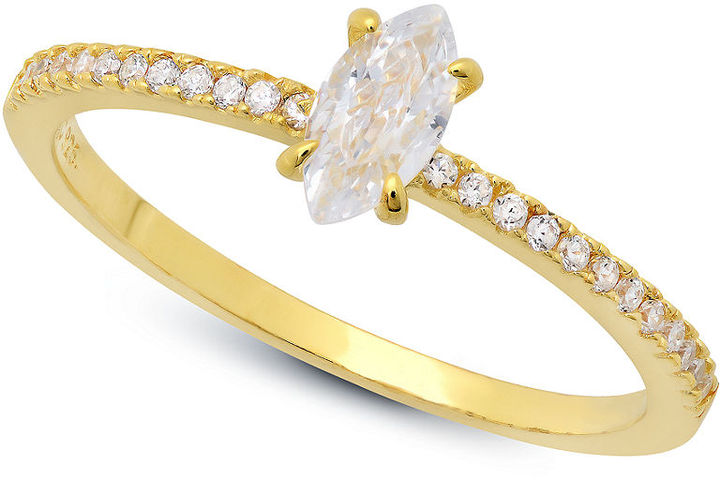 Crislu Ring, 18k Gold over Sterling Silver Marquise-Cut Cubic Zirconia Ring (3/5 ct. t.w.)