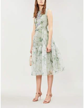 COSTARELLOS Embroidered floral-print crepe midi dress