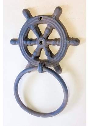 Carvers Olde Iron Cast Iron Ships Wheel Towel Ring 4""