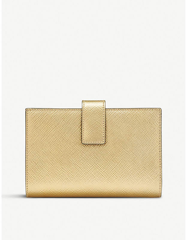 Smythson Panama cross-grain leather small continental purse