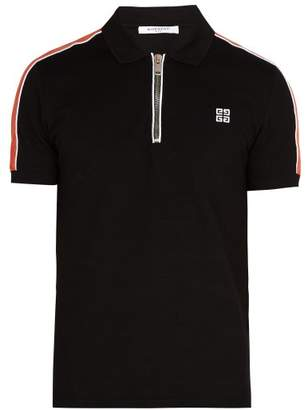 Givenchy Cuban Fit Half Zip Cotton Pique Polo Shirt - Mens - Black