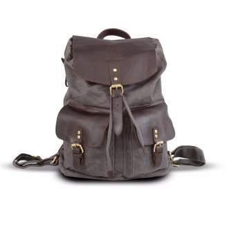 EAZO - Front Pockets Waxed Leather & Canvas Backpack