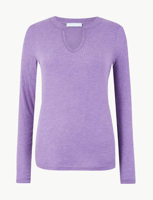 Marks and Spencer Notch Neck Long Sleeve Top