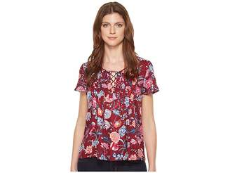 Lucky Brand Floral Peasant Women's Short Sleeve Pullover