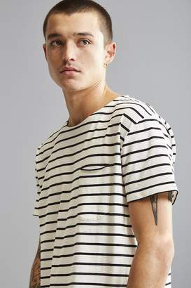 Urban Outfitters Nautical Stripe Scoop Neck Curved Hem Tee