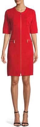 Misook Zip-Front Short-Sleeve Shirtdress, Petite