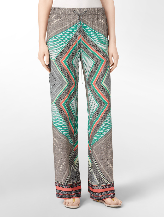 Caribbean Print Wide Leg Pants