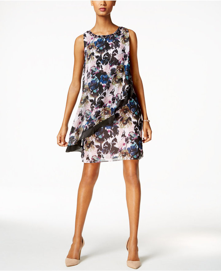 SL Fashions Floral-Print Ruffled Popover Dress