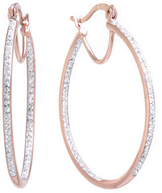 SPARKLE ALLURE Sparkle Allure Crystal Inside Out Click-Top 40mm Hoop Earrings