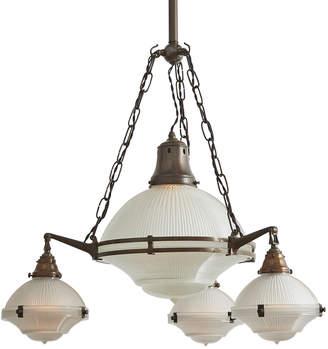 Rejuvenation Exceptional 4-Light English Industrial Holophane Chandelier