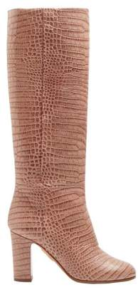 Aquazzura Brera 85 Crocodile Print Leather Knee High Boots - Womens - Light Pink