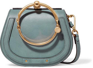 Chloé Nile Bracelet Small Textured-leather And Suede Shoulder Bag - Gray green