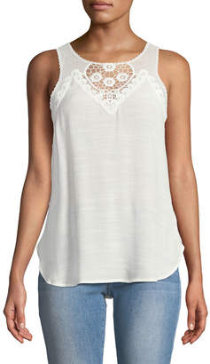 Black Tape Lace-Neck Sleeveless Button-Front Blouse