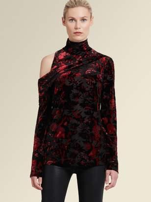 2d0761df0978ff DKNY Printed Cold-shoulder Turtleneck