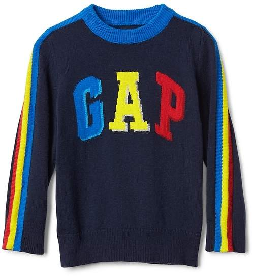 Crazy stripe logo crewneck sweater