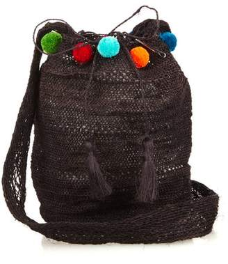 Muzungu Sisters - Fique Mochila Pompom Shoulder Bag - Womens - Black
