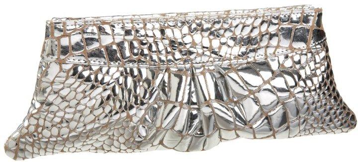 Lauren Merkin Eve Mirror Croc-Embossed Clutch