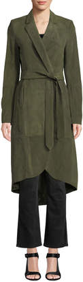 Alice + Olivia Karley Notched-Collar Suede Wrap Coat