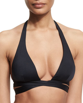 Vitamin A Sirena Wrap Halter Swim Top $100 thestylecure.com