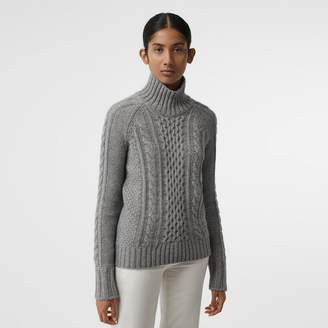Burberry Cable Knit Cashmere Turtleneck Sweater, Grey