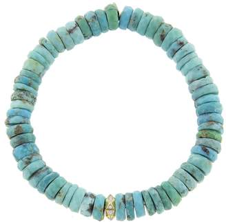 Sydney Evan Diamond Stone Pyramid on Arizona Turquoise Beaded Bracelet