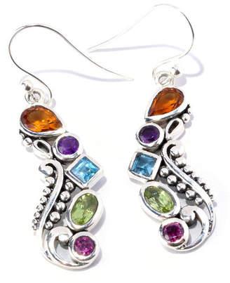 Samuel B Jewelry Sterling Silver Multi Stone Paisley Drop Earrings