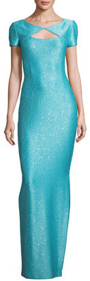 St. John Collection Khari Sequined Keyhole Short-Sleeve Gown, Turquoise $1,395 thestylecure.com