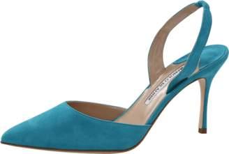 MANOLO BLAHNIK Carolyne Suede Slingback Heels $645 thestylecure.com