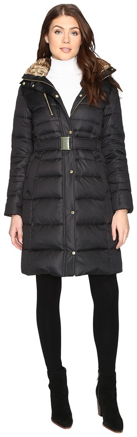 Cole Haan  Cole Haan Signature Quilted Coat with Faux Fur Lining