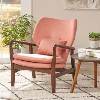 Noble House Harper Mid Century Modern Fabric Club Chair, Salmon