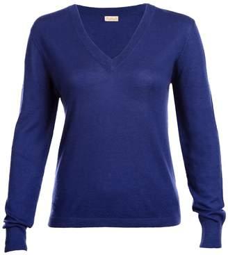 Asneh - Mathilda Sodalite Blue V Neck Sweater Fine Knit Cashmere
