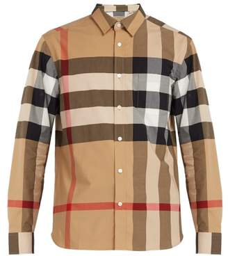 Burberry Windsor Oversized Check Cotton Blend Shirt - Mens - Beige Multi