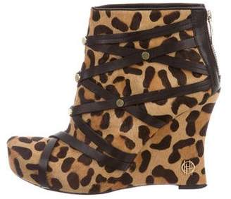 House Of Harlow Ponyhair Wedge Ankle Boots