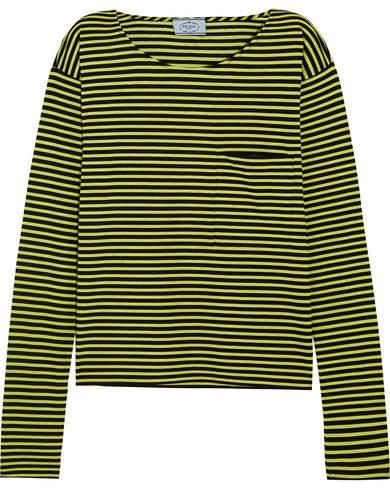 Prada - Striped Cotton-jersey Top - Lime green