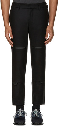 Y-3 Black Wool Track Trousers $410 thestylecure.com