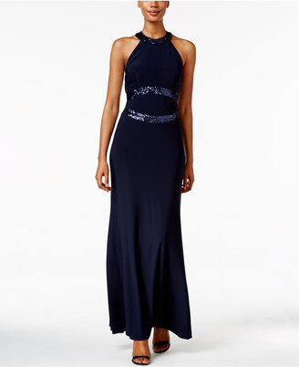 Betsy & Adam Open-Back Sequined Halter Gown $209 thestylecure.com