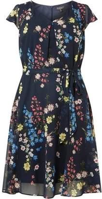 Dorothy Perkins Womens **Billie & Blossom Curve Navy Floral Chiffon Dress