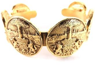 CC Logo Gold Tone Metal Coin Medal Motif Bangle Bracelet