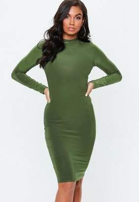 Missguided Khaki Long Sleeve Slinky High Neck Midi Dress