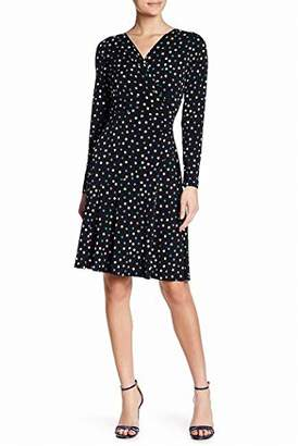 London Times Women's Long Sleeve V Neck Jersey Fit and Flare Dress