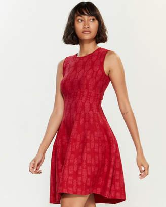 RVN Lace Stripe Pointelle Sleeveless Dress