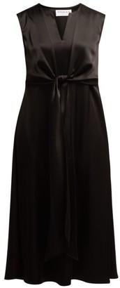 Osman V Neck Tie Front Dress - Womens - Black