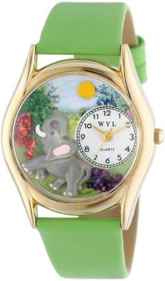 Whimsical Watches Kids' C0150013 Classic Elephant Green Leather And tone Watch