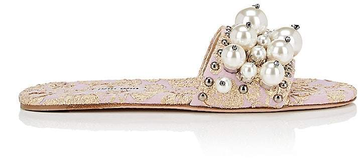 Miu Miu Women's Embellished Jacquard Slide Sandals