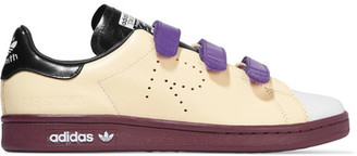Adidas Originals - + Raf Simons Stan Smith Color-block Perforated Leather Sneakers - Cream $415 thestylecure.com